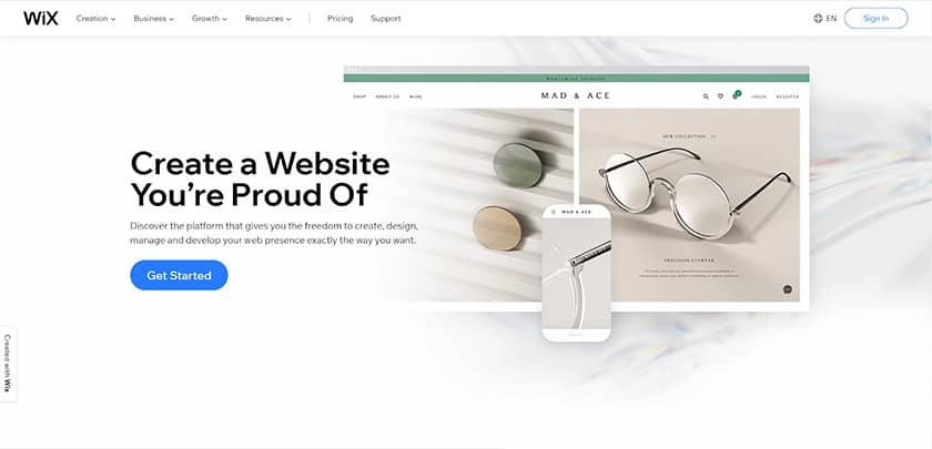 Screenshot of Wix home page