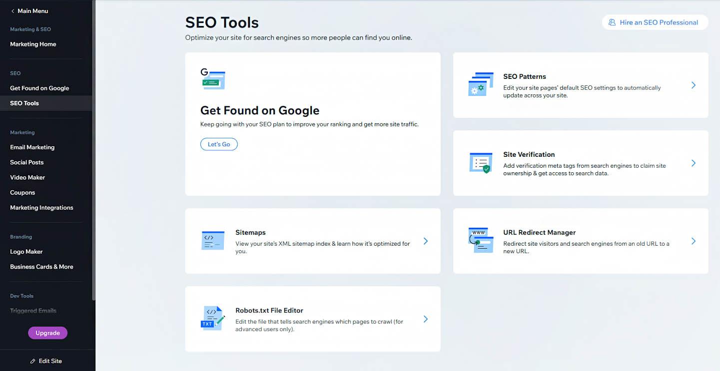 Wix's SEO tools