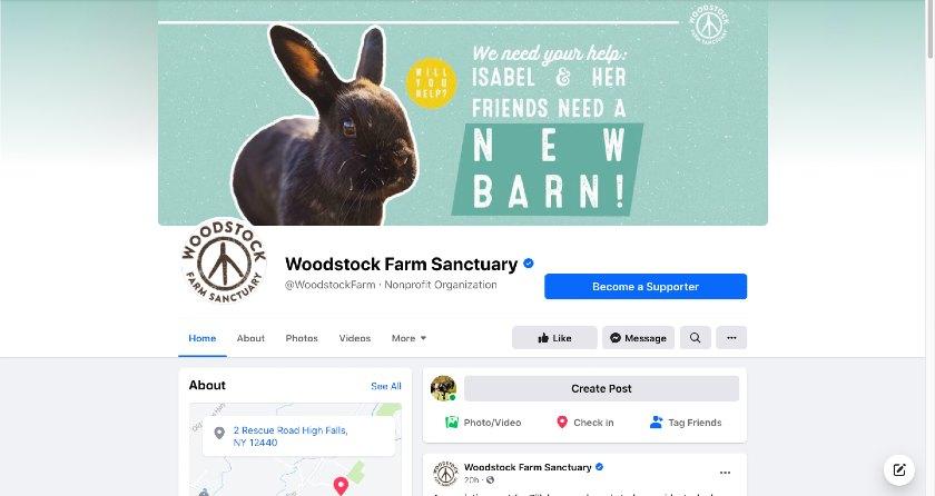 Woodstock Farm Sanctuary Facebook page