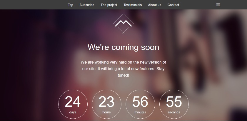 Wrap Bootstrap Mira Coming Soon Page