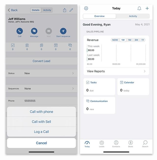 Zendesk Sell mobile app interface