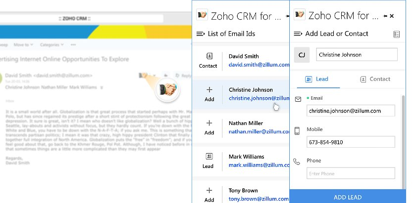 Zoho CRM Outlook inbox sidebar