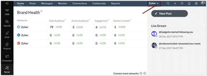 Zoho CRM Plus Brand Health Social Media Content Management