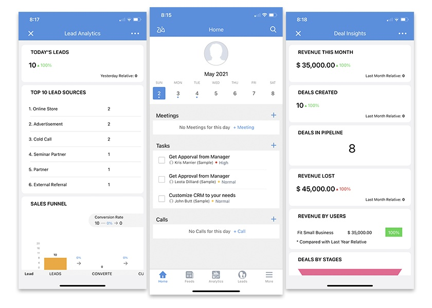 Zoho CRM mobile app interface