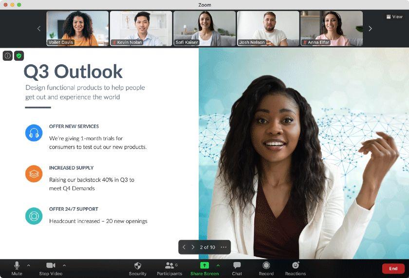 Zoom screen sharing interface