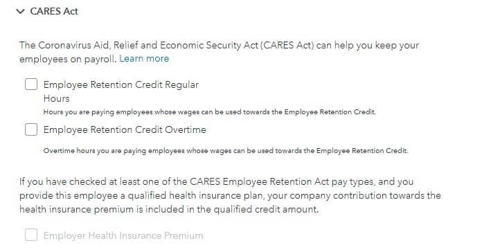 Screenshot of CARES Act