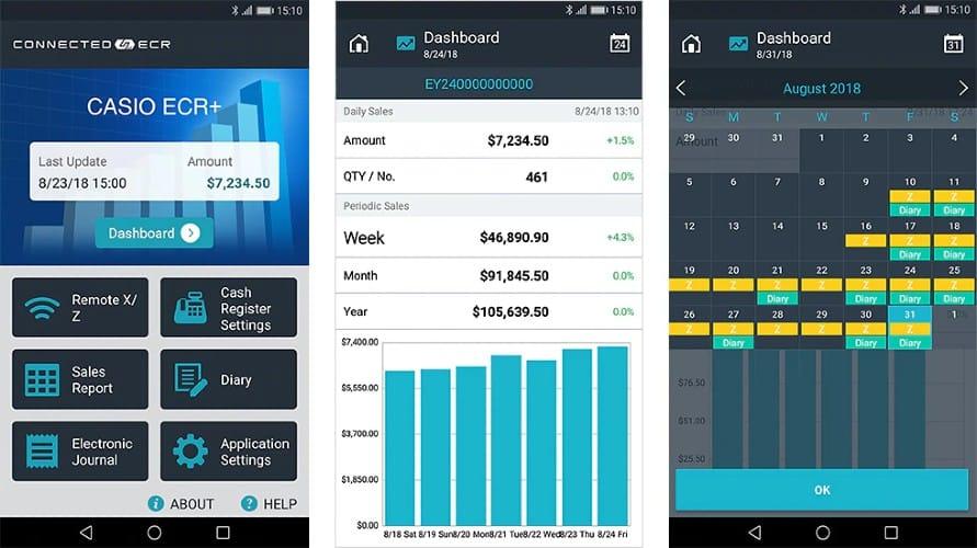 Screenshot of Casio ECR+ App Cash Register Remotely Setup