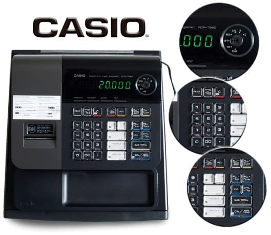 Screenshot of Casio PCR-T280 Features Five Main Department Keys