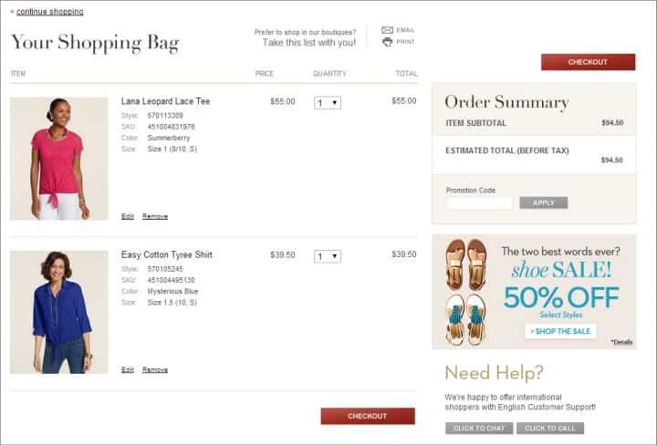 Screenshot of Checkout Tees