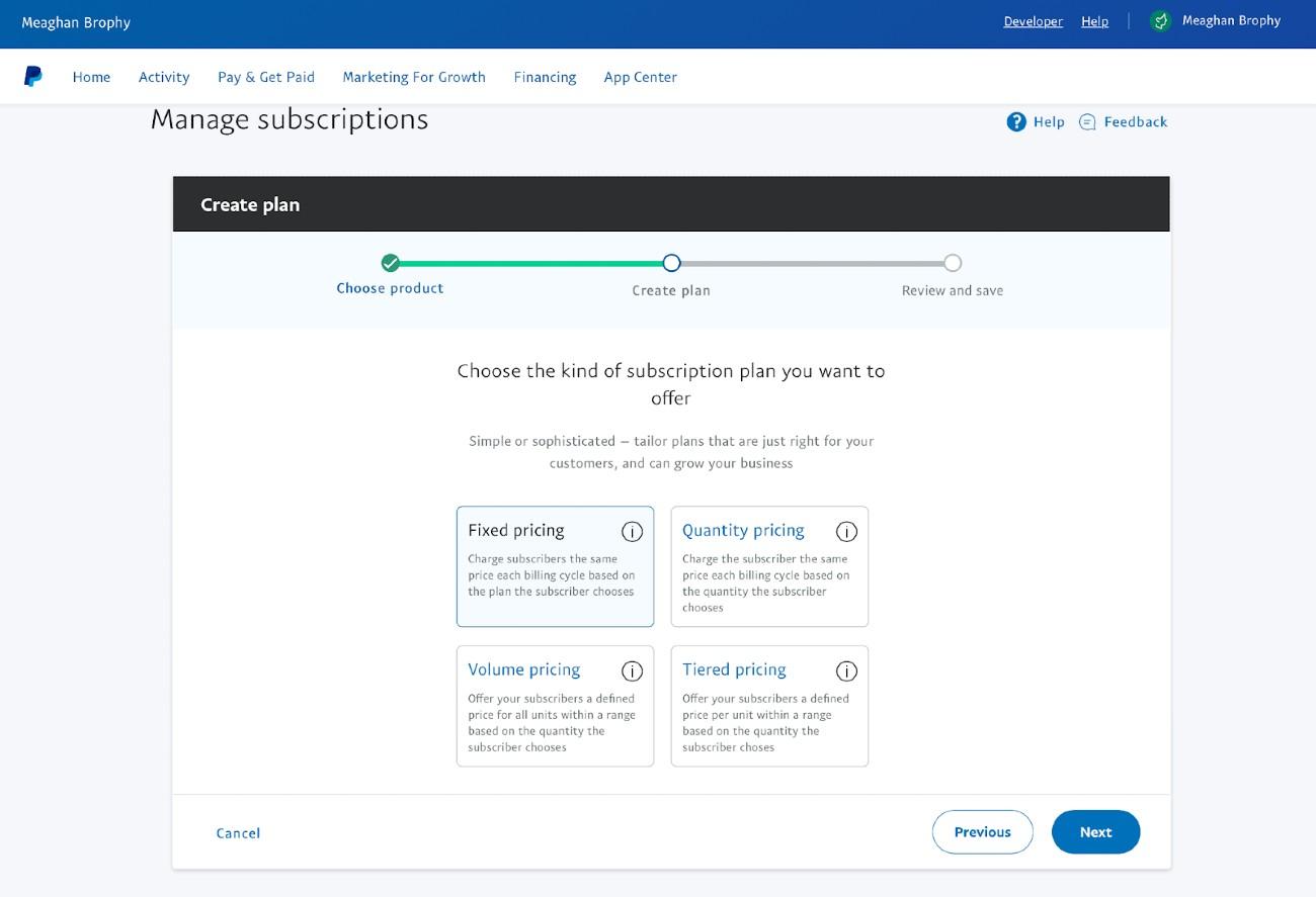 Screenshot of Creating a Plan on PayPal
