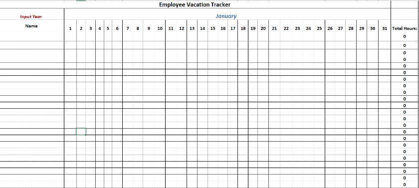 Screenshot of Employee Vacation Tracker