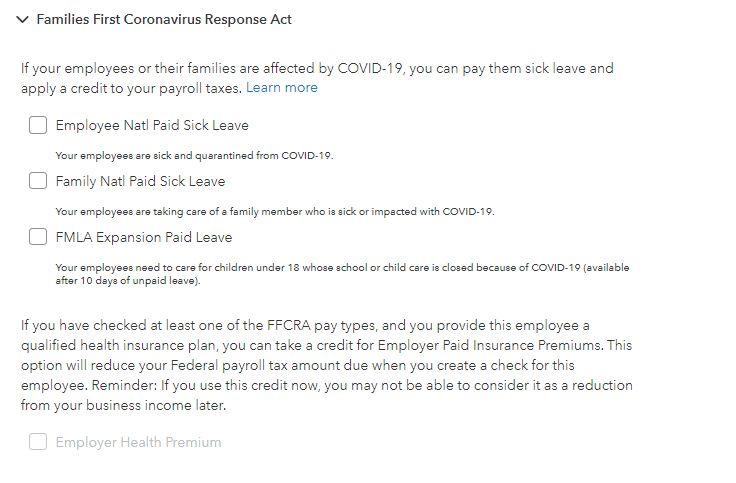 Screenshot of Families First Coronavirus Response Act