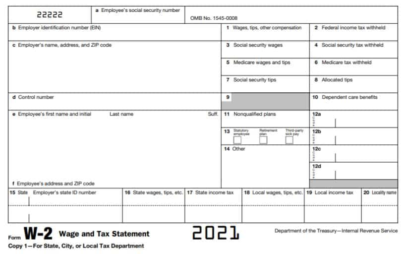 Screenshot of IRS Form W2