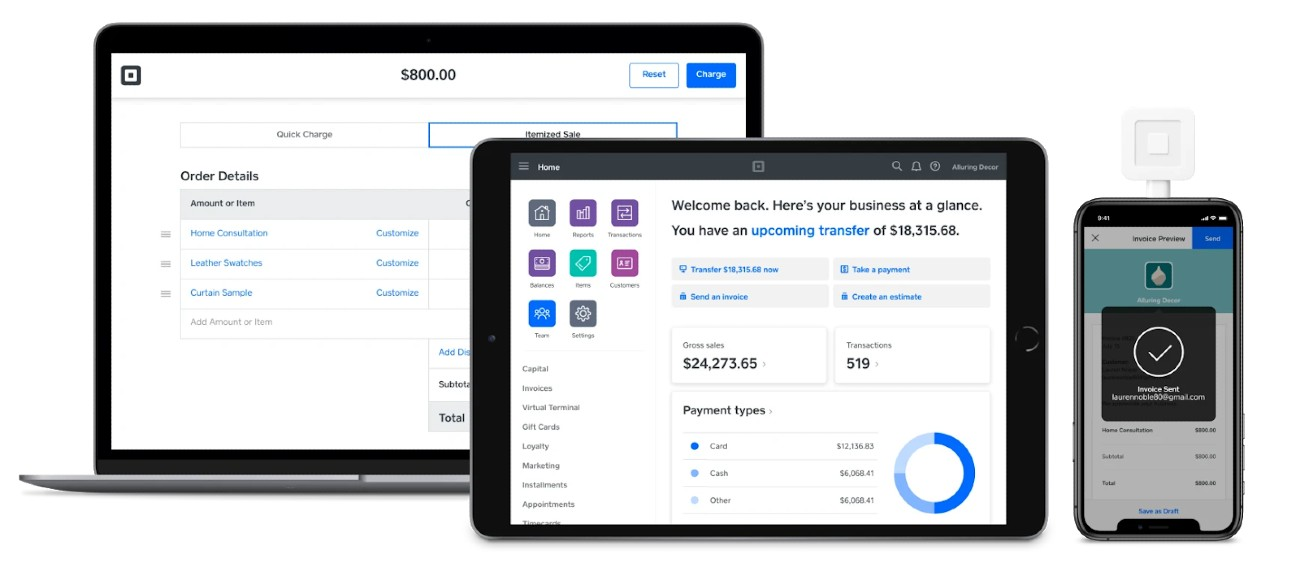 Screenshot of Managing Square Invoices on Laptop Tablet and Mobile on Square