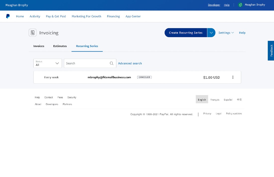 Screenshot of PayPal Recurring Series