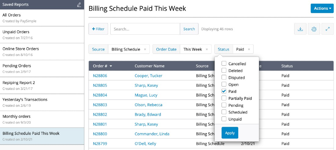 Screenshot of Paysimple Billing Schedule Paid
