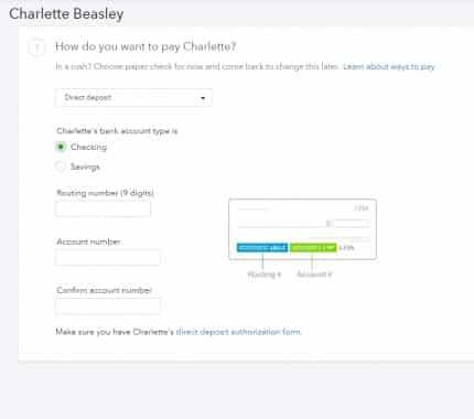 Screenshot of QuickBooks Checking Option