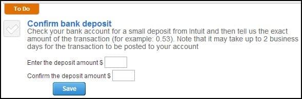 Screenshot of QuickBooks Confirm Bank Deposit