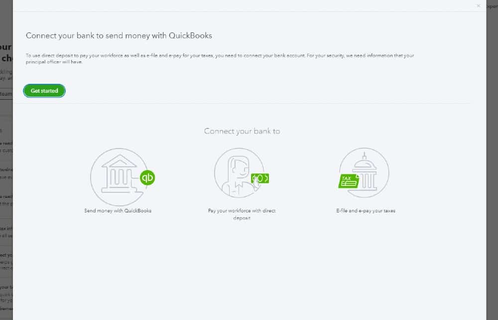 Screenshot of QuickBooks Connect Bank