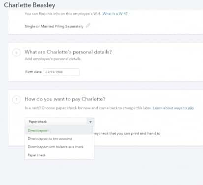 Screenshot of QuickBooks Direct Deposit Option