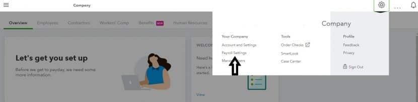 Screenshot of QuickBooks Payroll Settings