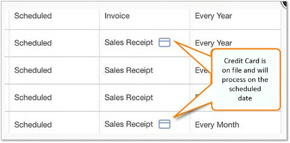 Screenshot of QuickBooks Scheduled Payments Have Cards on File