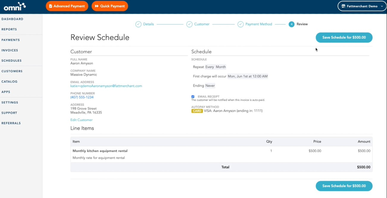 Screenshot of Reviewing Schedule on Stax by Fattmerchant