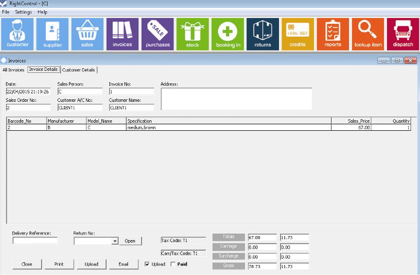 Screenshot of Right Control Invoice Generation