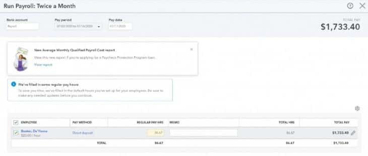 Screenshot of Runing Payroll on QuickBooks