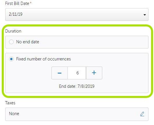Screenshot of Specifying First and Last Billing Date on Paysimple