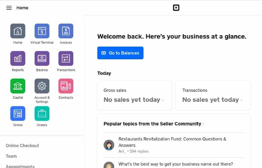Screenshot of Square Dashboard Tools