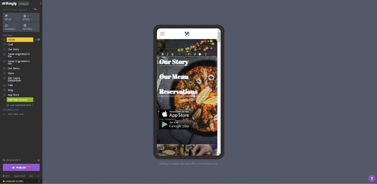 Screenshot of Strikingly's Mobile Editor