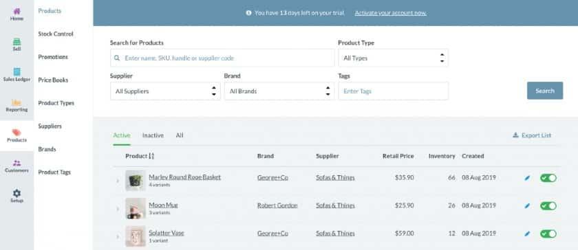 Screenshot of Vend Inventory Management