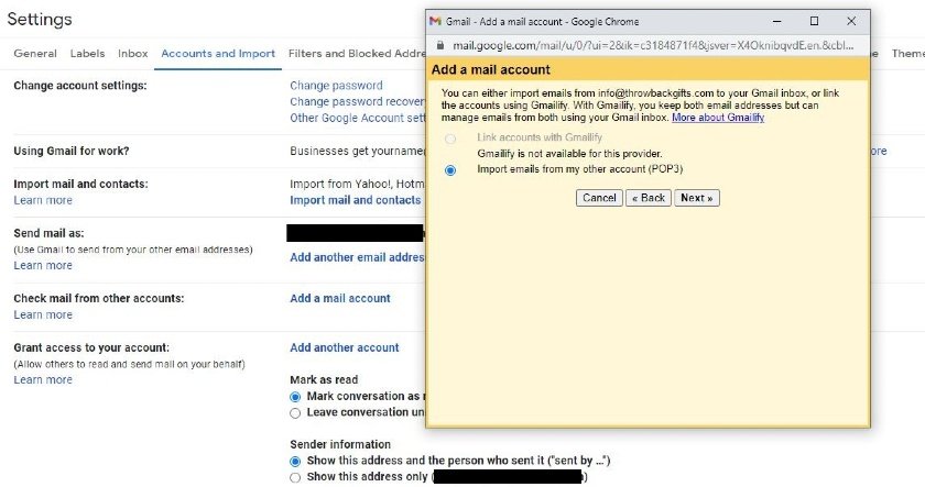 select Import emails