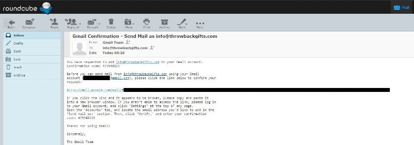 verify new email address in Gmail host