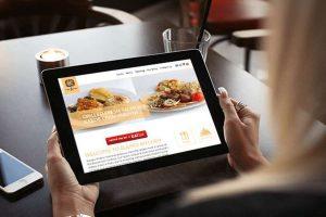 restaurant website on tablet