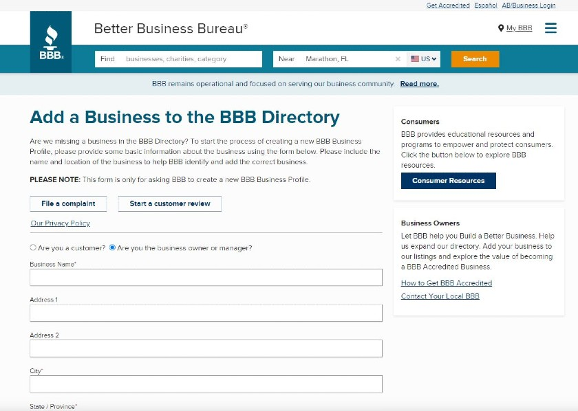 Add a Business To BBB Directory form