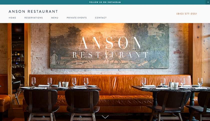 Screenshot of Anson Restaurant website