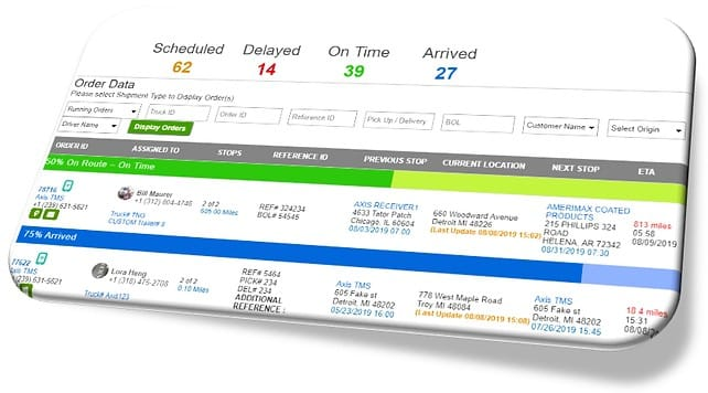 Screenshot of Axis TMS Shipment Management