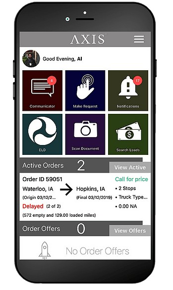 Screenshot of Axis TMS mobile app