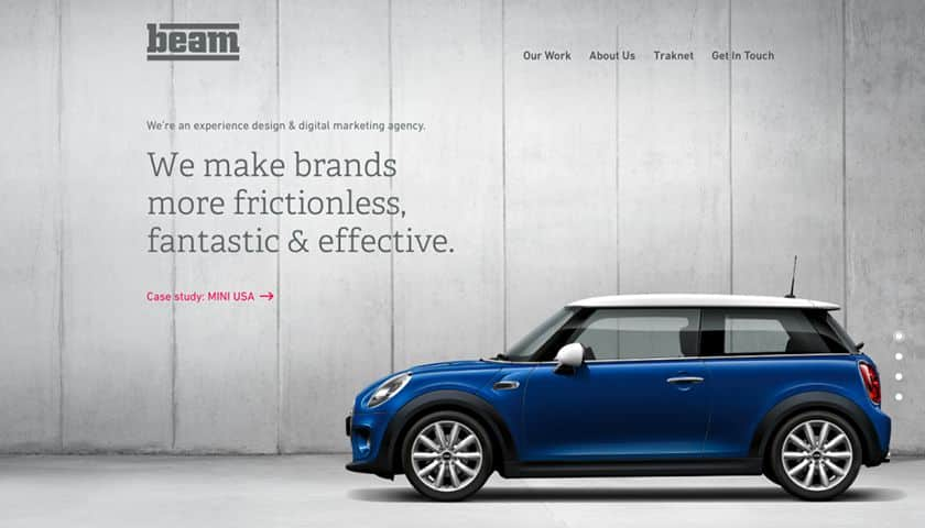 Screenshot of Beam Marketing website