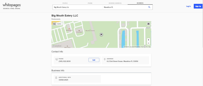 Big Mouth Eatery LLC on Whitepages
