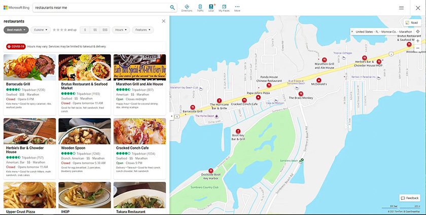 Bing Maps and local businesses search result
