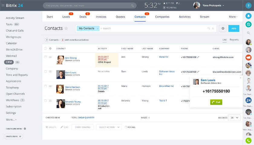 Screenshot of Bitrix24 Call Center Contacts Page