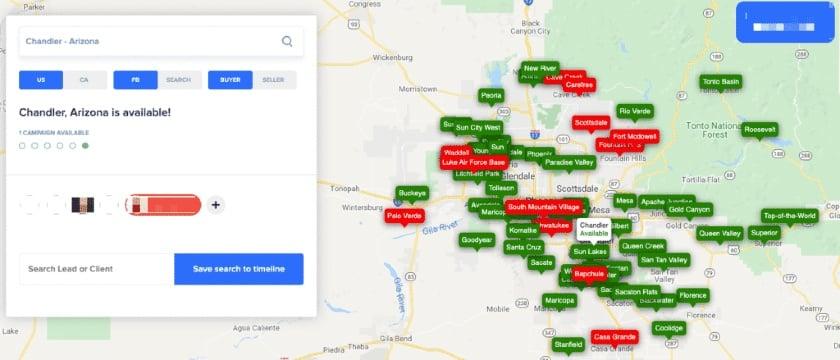 Screenshot of BoldLeads territory map