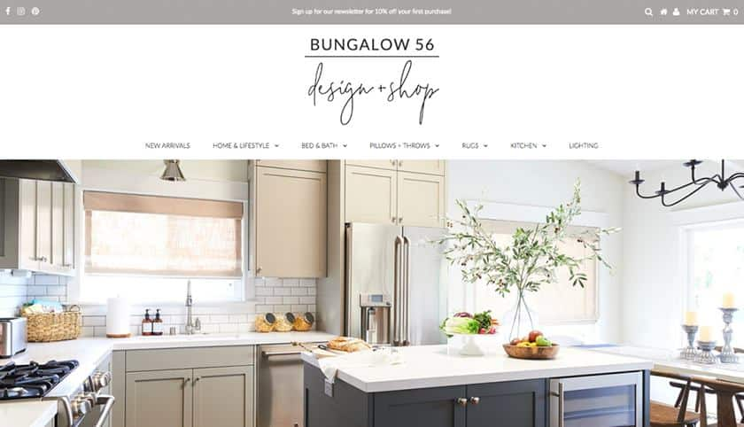 Screenshot of Bungalow 56 frontpage