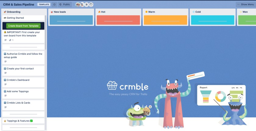 CRM and Sales Trello board sample by CRMble