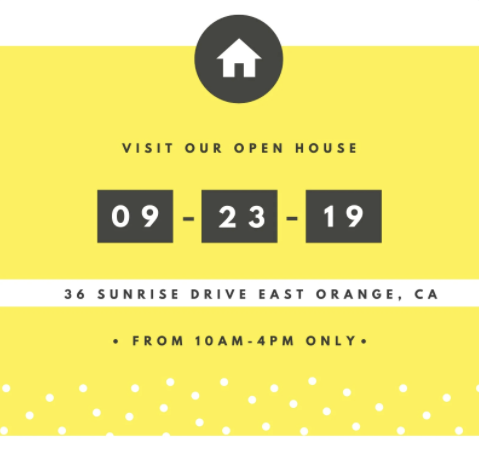 Canva Black and Yellow Open House Invitation