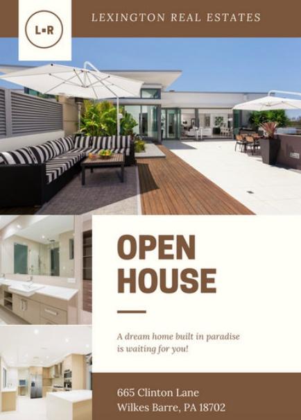 Canva Brown Cream Modern Photo Open House Invitation