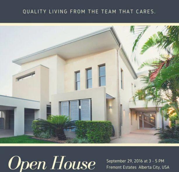 Canva Dark Grey Modern Open House Invitation